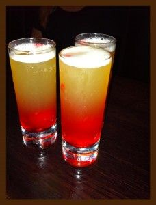 Pineapple Upside Down Cake Shot  Print      Ingredients  ◦1 oz vanilla vodka  ◦1 oz pineapple  ◦A drop of grenadine  Instructions  1.Pour vanilla vodka and pineapple juice into a shot glass.  2.Add a drop of grenadine, and serve.