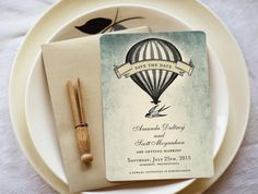 Hot Air Balloon Save the Dates or Vintage Themed Wedding Invitations