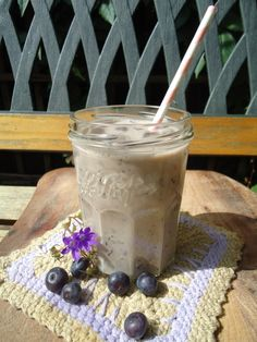 3 ingredient: blueberry, banana and almond milk. an amazing smoothie.
