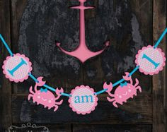 I am 1 high chair, pink crabs, girl nautical party, first birthday, ocean party