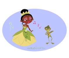 Chibi Tiana and her Froggy Prince by Nippy13