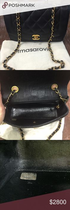 Authentic Vintage Chanel Diana caviar flap bag Gold hardware. Straps still shiny. The turnlock has some fading. Corners good condition. No rips or tears. Quilt still puffy.  Serial code is a little blurry but you can still read the numbers. Code is 2432507. This bag is iconic and very hard to find especially in caviar skin. It comes with a generic dustbag. Pls ask question. Thanks! CHANEL Bags Shoulder Bags