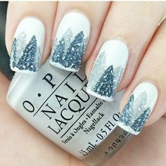 white nails with 2 colours of silver for Christmas trees