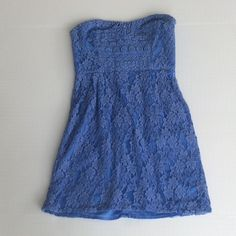 Free People strapless lace dress Beautiful Free People cornflower blue strapless lace dress. Size 2. Worn once. Free People Dresses Strapless