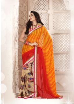Designer Orange #Saree