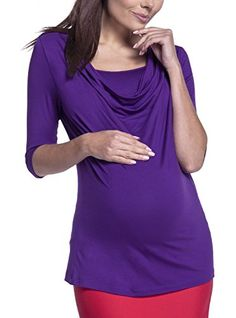 943f8ff616 Happy Mama Womens Maternity Nursing Top 34 Sleeves Layered Cowl Neck 269p  Purple US 6 S    Want additional info  Click on the image.  c4c