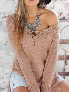 Wanted Lace Up Sweater
