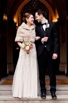 Warm fur shrug for this bride, Bride and Bridesmaids cover up ideas   Wedding cover ups   fabmood.com