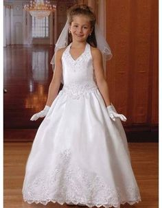 Fabulous White Ball Gown Halter V-neck Bubble Skirt First Communion Dresses/ Satin Halter Flower Girl Dresses Under 100