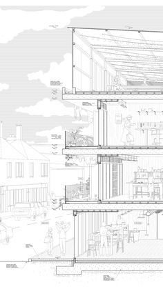 Architectural Perspective Detail Section of Surbiton Works : Part 2 Thesis Proje. - Architectural Perspective Detail Section of Surbiton Works : Part 2 Thesis Project from Kingston Un - Zaha Hadid Architecture, Cantilever Architecture, Le Corbusier Architecture, Architecture Durable, Architecture Drawing Plan, Architecture Drawing Sketchbooks, Architecture Graphics, Green Architecture, Sustainable Architecture