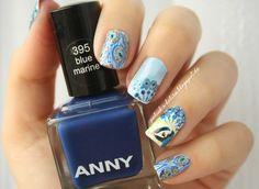 http://polish-a-holics.blogspot.de/2014/08/peacock-nails.html #peacock #nails #manicure #blue #anny #bluenails #nailart #stamping #moyoulondon