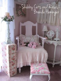 A Yard Sale find ~ Sweet Pink Vignette with pink chair