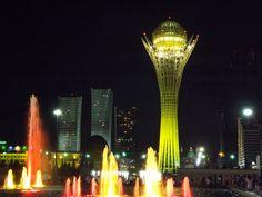 Astana, Kazakhstan: a shot of the Bayterek at night.