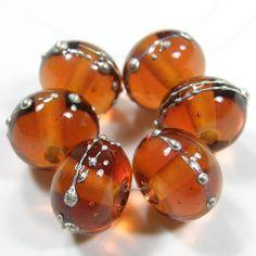 Topaz Beads Shiny Medium Amber Handmade Lampwork Beads Silver 014gfs | Covergirlbeads - Jewelry on ArtFire