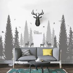 Pine Tree Forest Wall Decals – The Treasure Thrift Birch Tree Wall Decal, Tree Wall Murals, Large Wall Decals, Kids Room Murals, Bird Wall Decals, Wall Stickers, Church Interior Design, Tree House Plans, Wall Design