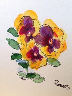 Pansies Watercolor | Floral Artwork
