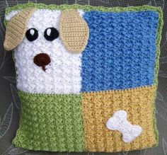 Items similar to 15 x Pillow cover hand-crocheted dog & bone for children on. : Items similar to 15 x Pillow cover hand-crocheted dog & bone for children on Etsy Crochet Cushion Cover, Crochet Cushions, Crochet Pillow, Hand Crochet, Free Crochet, Crochet Crafts, Crochet Home Decor, Crochet Projects, Unique Crochet