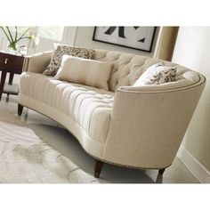 Darby Home Co Frederic Tufted Curved Sofa Upholstery Color: Ivory Small Living Room Design, New Living Room, Living Room Sofa, Living Room Designs, Living Room Furniture, Living Room Decor, Bedroom Decor, Sofa Furniture, Pallet Furniture