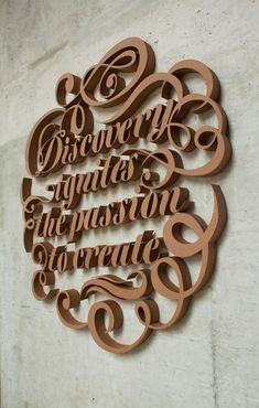 6-foot-tall 3D typographic installation out of cardboard by Canadian designer Farah Tamachi