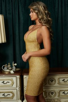 Oh Glow On Strappy Plunge Embellished Knee Length Dress in Gold dcc6f5ba2