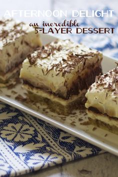 five-layer afternoon delight {five delicious dessert layers beginning with a pecan crust...}