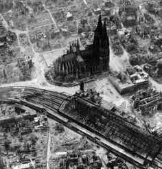 The German city of Cologne was bombed in 262 separate air raids by the Allies during World War II, including 31 times by the Royal Air Force (RAF). Germany Area, Berlin Germany, Ww2 History, History Photos, Air Raid, History Online, Cologne Germany, Historical Pictures, Germany