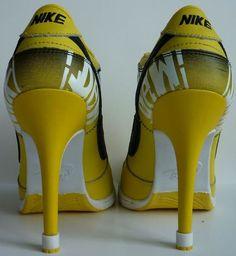 huge discount e46b7 9d551 Womens Black and Yellow Nike High Heels Dunk SB Low