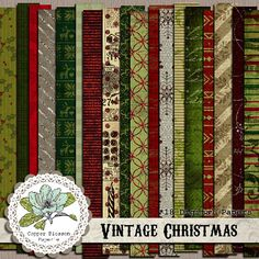 Vintage Christmas  Digital Scrapbook Paper by CopperBlossomPaperie