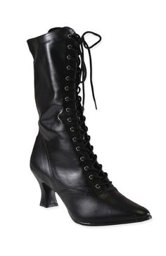 Victorian Boot - Black Faux Leather