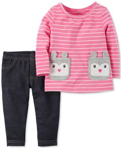 Carter's 2-Pc. Striped Rabbit T-Shirt & Jeggings Set, Baby Girls (0-24 months)