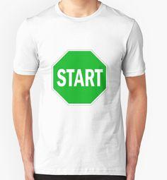 """Start green sign"" T-Shirts & Hoodies by Abricotti Chiffon Tops, Cool Designs, Classic T Shirts, Shirt Dress, Hoodies, Green, Mens Tops, Stuff To Buy, Fashion"