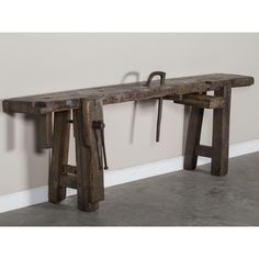 A wonderfully rough antique vintage French industrial solid oak workbench from France circa 1900 with the original iron vise and removable iron guide. The sheer massive quality of the solid oak timber on this table is quite impressive. French Oak, French Vintage, Industrial Workbench, French Industrial, East Hampton, Solid Oak, Console Table, French Antiques, The Hamptons