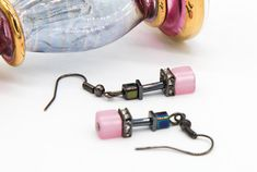 Pink Earrings, Cube Earrings, Polaris Earrings, Geometric Earrings, Gift for Her, Wedding Jewellery, Dainty Earrings, Bridesmaid Jewellery