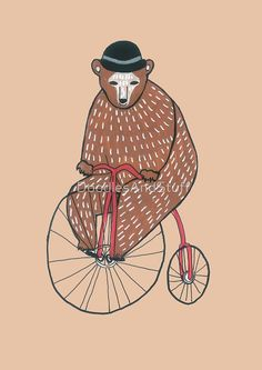 Cute hipster drawing of a bear on a bicycle simple hand drawn illustration available on many different products such as clothes and bags and many other :)