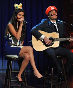 Watch Selena Gomez Sport a Mustache For a Silly Duet With Jimmy Fallon