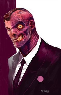 Batman villain, Two-Face, drawn by Dan-Mora Two Face Batman, Im Batman, Batman Art, Comic Book Villains, Gotham Villains, Comic Book Characters, Comic Character, Character Design, Comic Books
