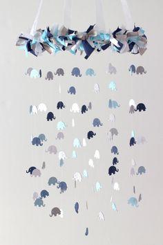 Elephant Nursery Mobile in Navy Baby Blue Gray by LovebugLullabies
