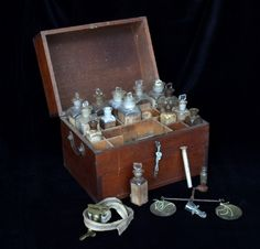 "19th century medicine chest: Medicines bought by Lewis & Clark to take on their expedition. One such medicine, Calomel, a mercurous chloride compound, was used as a laxative & disinfectant, as well for the treatment of syphilis. It was a favorite of Lewis's teacher Dr. Benjamin Rush, who advised giving ""bilious"" (constipated) patients calomel until they would salivate, however, at high doses, the mercury in the compound would reach poisonous levels causing the patient's hair & teeth to fall…"