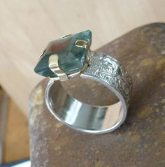Sterling SIlver filigree band with Moss Aquamarine by GenJewel, $210.00
