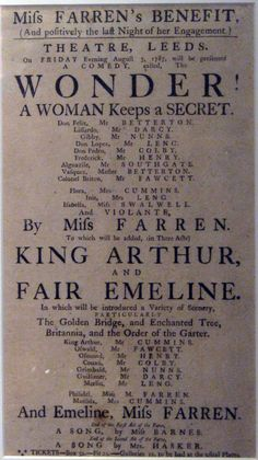 Vintage Copywriting: Vintage Gallery #3 The 18th Century Theatrical Poster