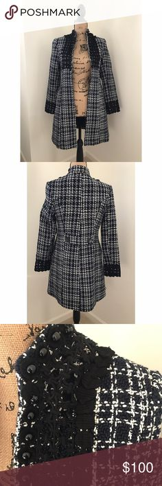 Tweed Coat Beautiful black, white, and navy tweed jacket with black embroidery detail! In wonderful condition and perfect for a nice evening out. Gioia Fashion Jackets & Coats