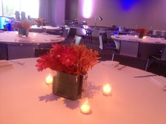 Fresh flowers on a crisp linen truly pop with just a hint of lighting!  www.konceptevents.com