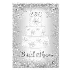Snowflake Monogram Wedding Cake Bridal Shower