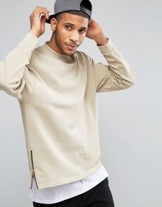 Image 1 of ASOS Oversized Sweatshirt With Side Zips In Beige