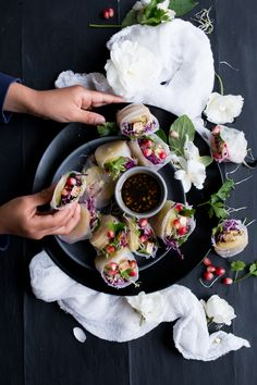Vegan summer rolls with kiwi and veggies and a Japanese Harusame dressing - The Little Plantation Blog