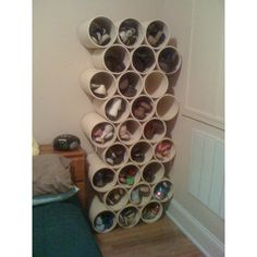 Fun ideas / PVC pipe shoe storage - so fun and so simple, could easily spray paint or cover in fabric or paper too... maybe a horizontal layout of two rows or something. So many possibilities! found on Polyvore