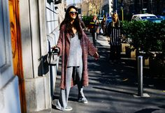 Chiara Totire in Marc Jacobs pants and wearing Céline shoes