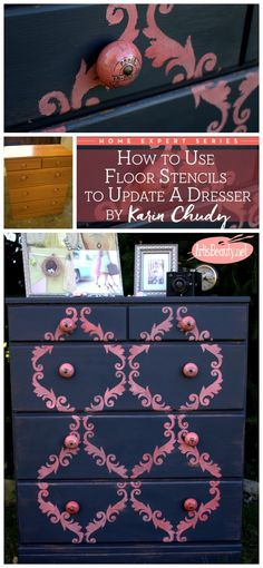 ART IS BEAUTY: How to use a FLOOR stencil to update a Dresser ~Home Expert Series~