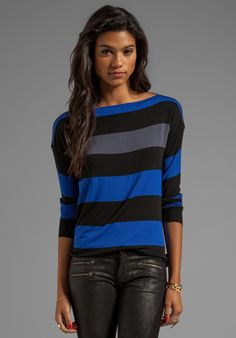 Bailey 44 Thumb Typing Striped Long Sleeve Top in Blue/Black/Grey