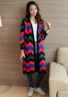 Buy Bohemian Graphic Knitted Long Cardigan | mysallyfashion.com ...